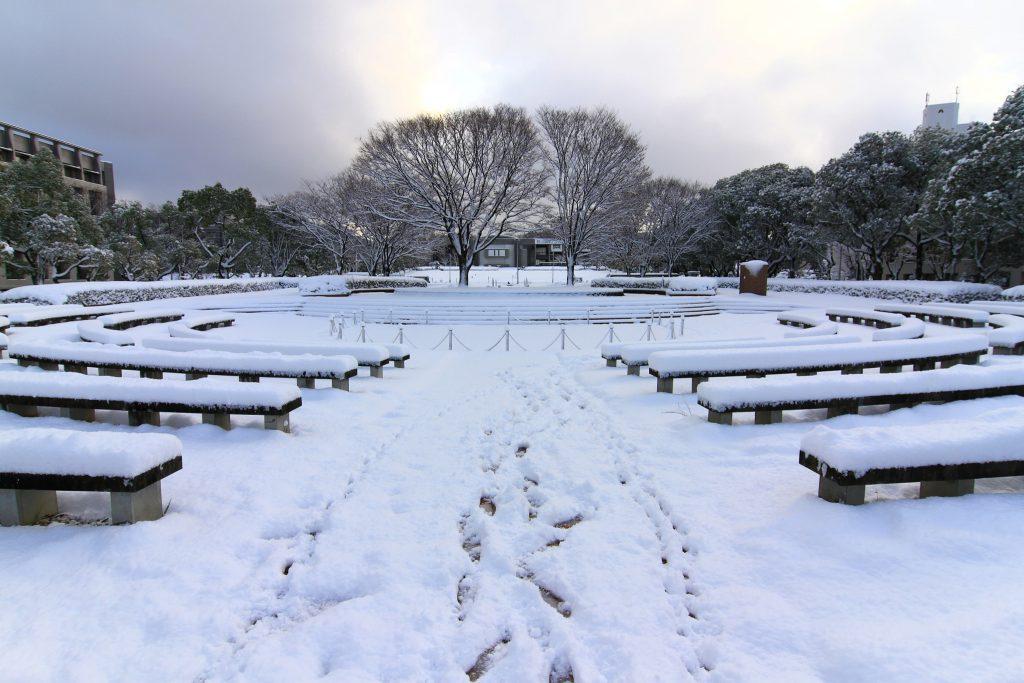 Nagoya university in snow , Japan