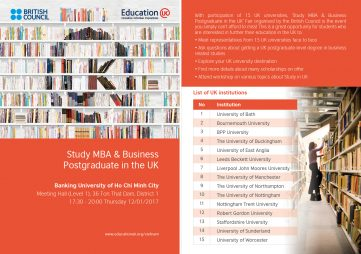 [HCM] Ngày hội Thông tin Học MBA và Thạc sỹ các chuyên ngành Kinh tế tại Vương quốc Anh