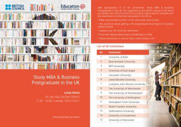 [HN] Ngày hội Thông tin Học MBA và Thạc sỹ các chuyên ngành Kinh tế tại Vương quốc Anh